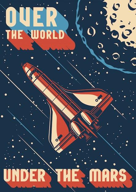 Vintage colorful mars exploration poster Premium Vector