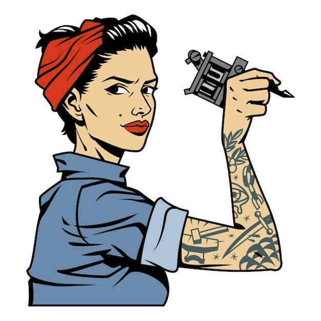 Старинные красочные механик девушка с татуировкой на руке держит гаечный ключ Бесплатные векторы