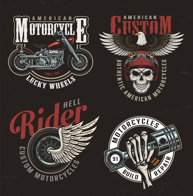 ヴィンテージカラフルなオートバイラベル 無料ベクター