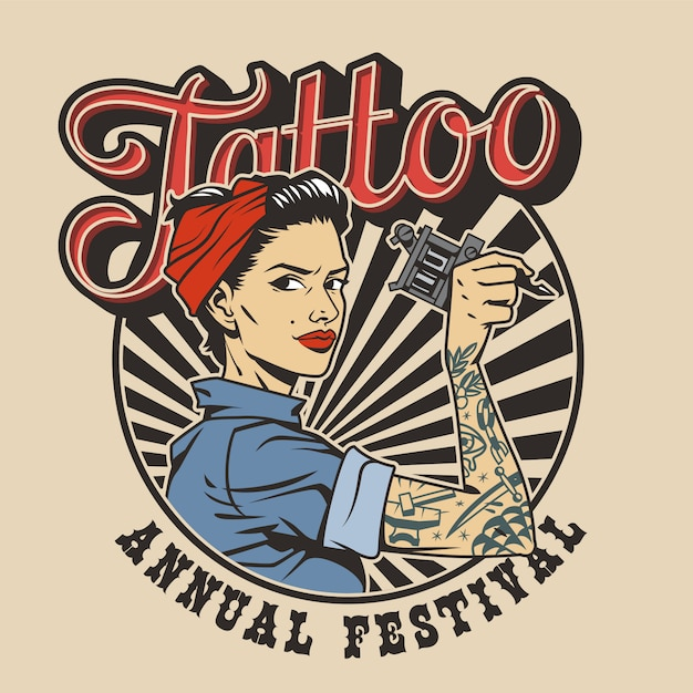 Vintage colorful tattoo festival label Free Vector