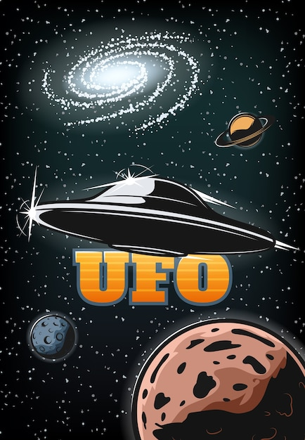 Vintage colorful ufo poster Free Vector