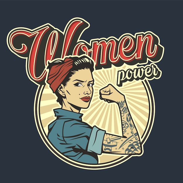 Vintage colorful woman power badge Free Vector