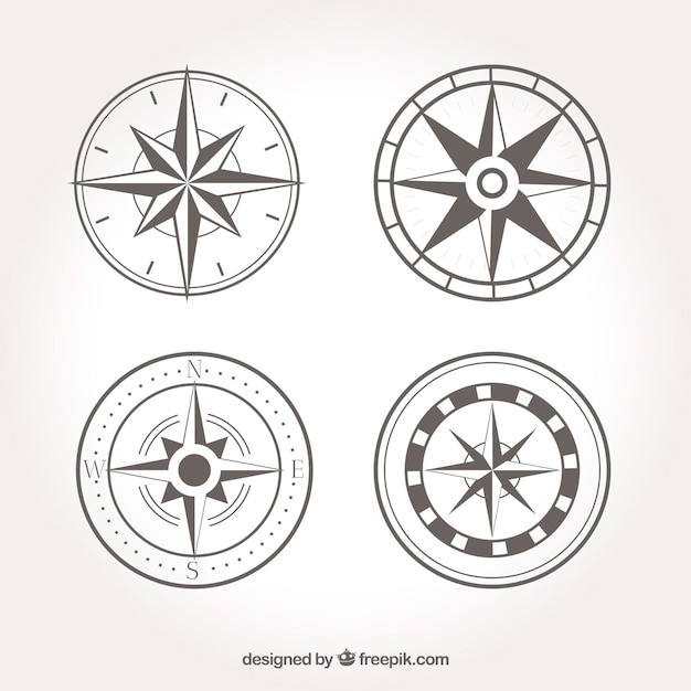 Vintage compass collection Free Vector