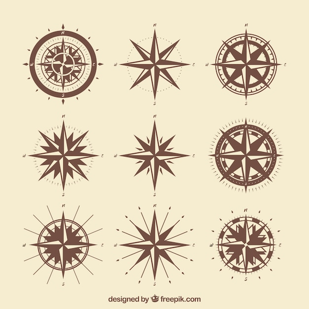 Vintage compass pack Free Vector