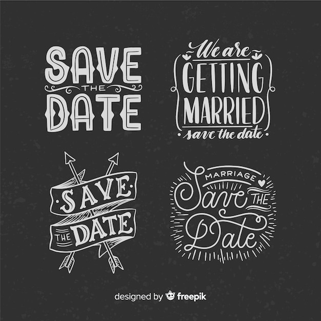 Vintage concept for lettering collection on weeding day Free Vector