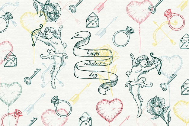 Vintage concept with valentines day background Free Vector