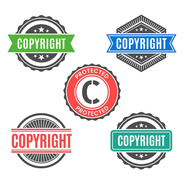 Vintage copyright stamps collection Free Vector
