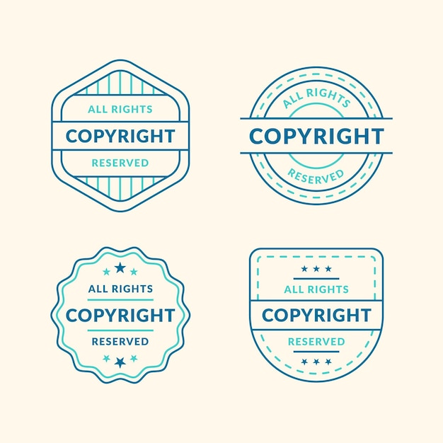 Vintage copyright stamps pack Premium Vector