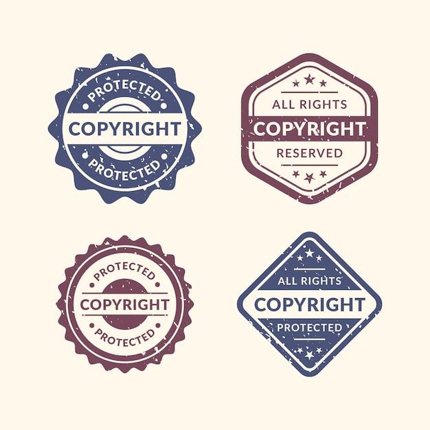 Vintage copyright stamps set Premium Vector
