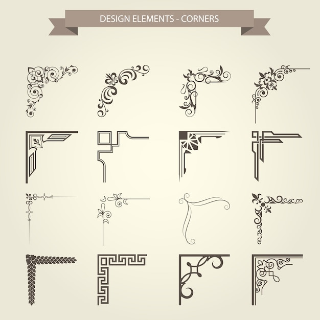 Vintage corner vignettes set - frame border flourish pattern Premium Vector