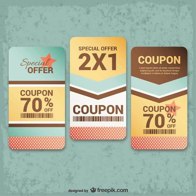 Vintage coupons pack Vector