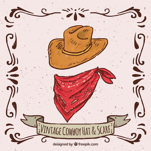 Vintage cowboy hat and scarf Free Vector