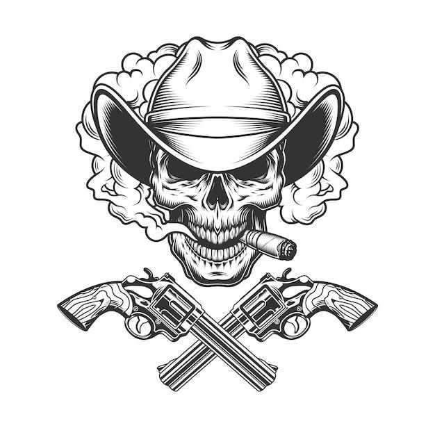 Vintage cowboy skull in smoke cloud Free Vector