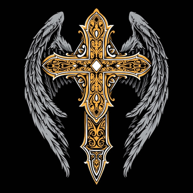 Vintage cross with wings ornament Premium Vector