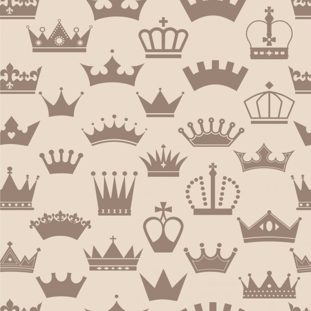 Vintage crowns pattern Free Vector