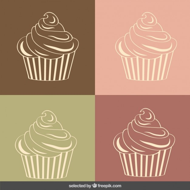 Vintage cupcakes illustration Free Vector