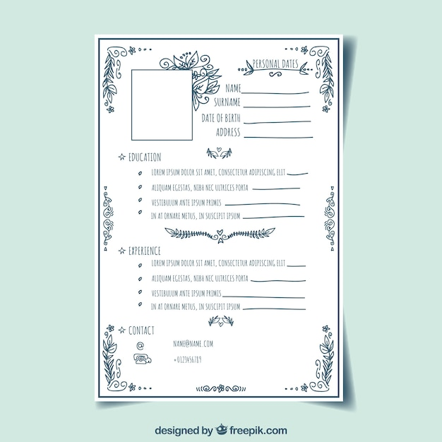 vintage curriculum template with hand drawn style vector