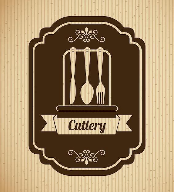 Vintage cutlery label Free Vector
