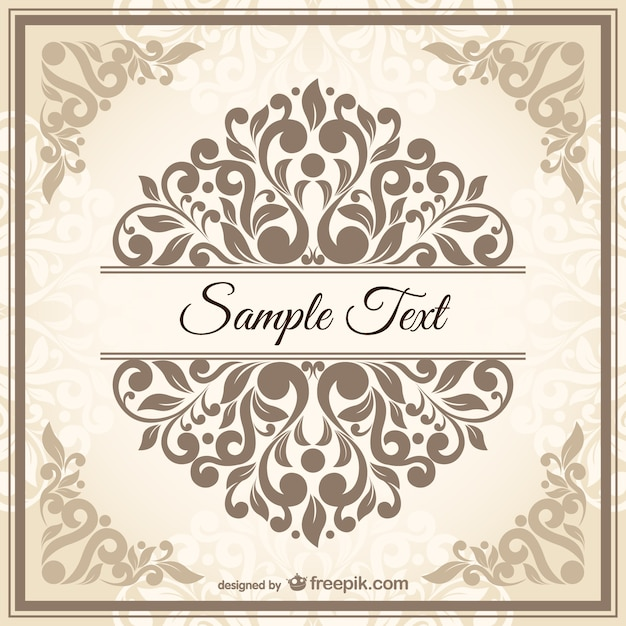 Vintage Damask Style Template Vector Free Download