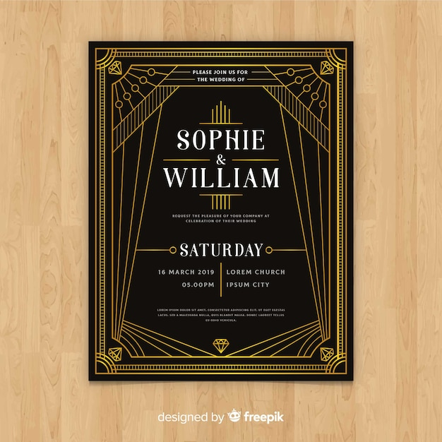 Vintage Dark Wedding Invitation Template In Art Deco Design Vector
