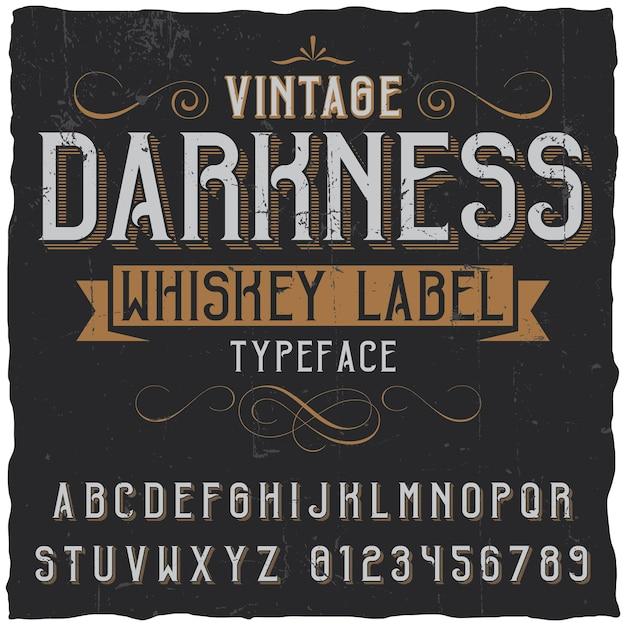 ヴィンテージフォントの装飾とリボンが付いたヴィンテージの闇ウイスキーポスター 無料ベクター