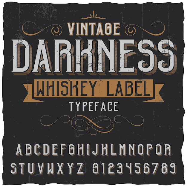 Vintage darkness whiskey poster with decoration and ribbon in vintage font Free Vector