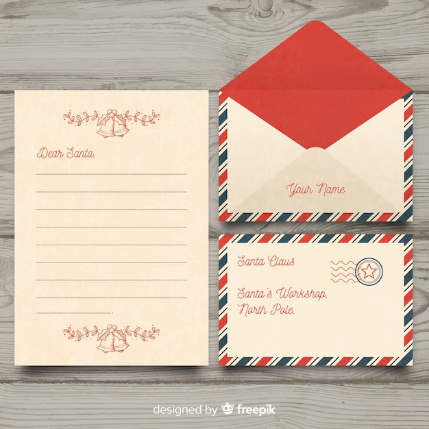 Vintage dear santa christmas letter and envelope set Free Vector