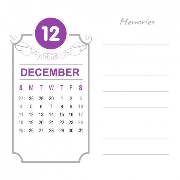 Vintage December Calendar 2016