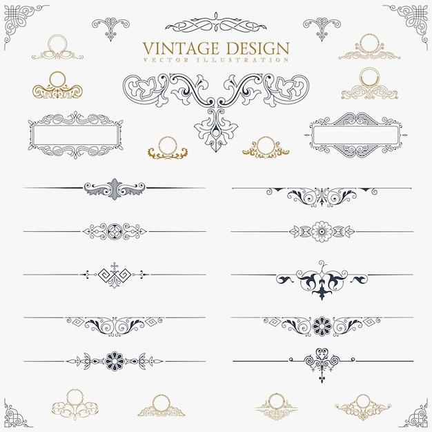 Vintage decor elements set Premium Vector