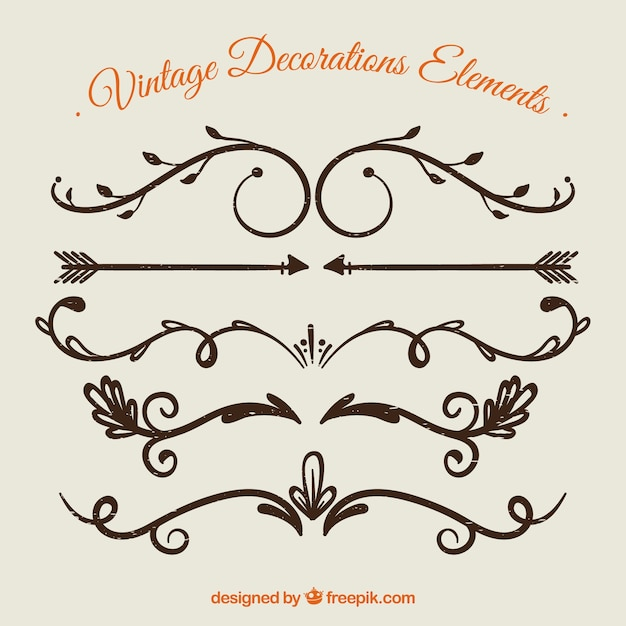 Vintage decoration element collection Free Vector