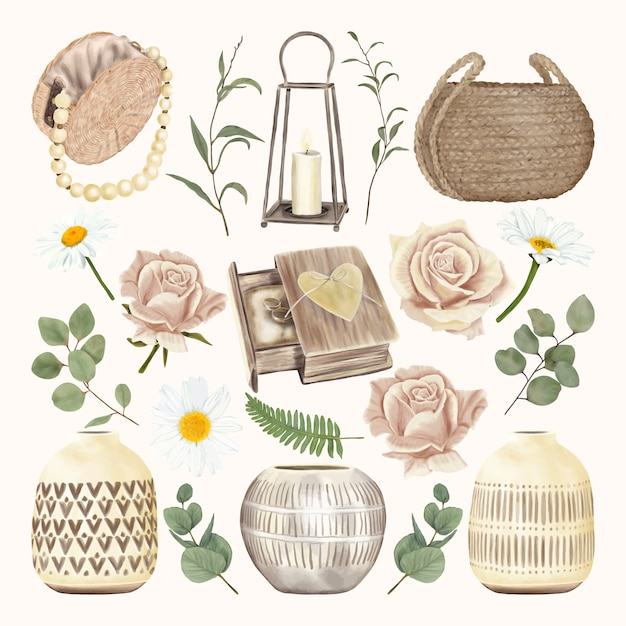 Vintage decoration set with home decor and flowers Premium Vector