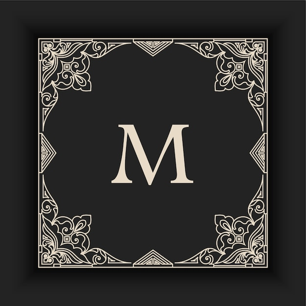 Vintage decorative frame with initial Free Vector