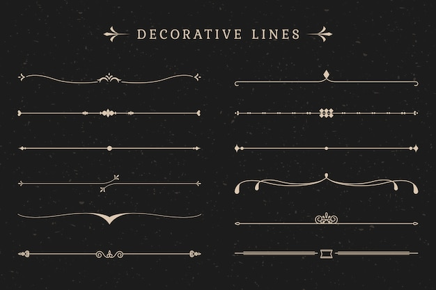 Vintage decorative lines collection Free Vector