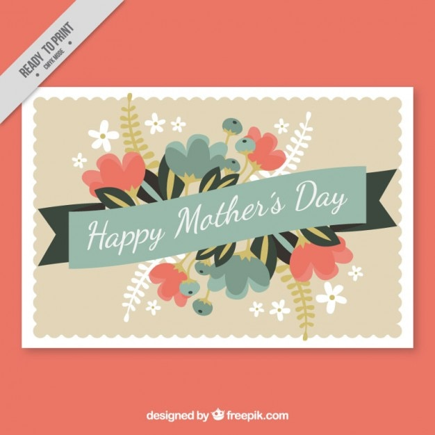 Vintage decorative mother\'s day card with\ flowers