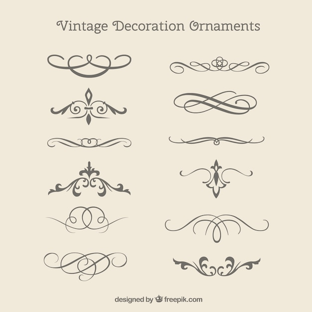 Vintage decorative ornaments pack Free Vector