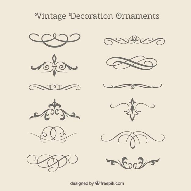 Vintage decorative ornaments pack
