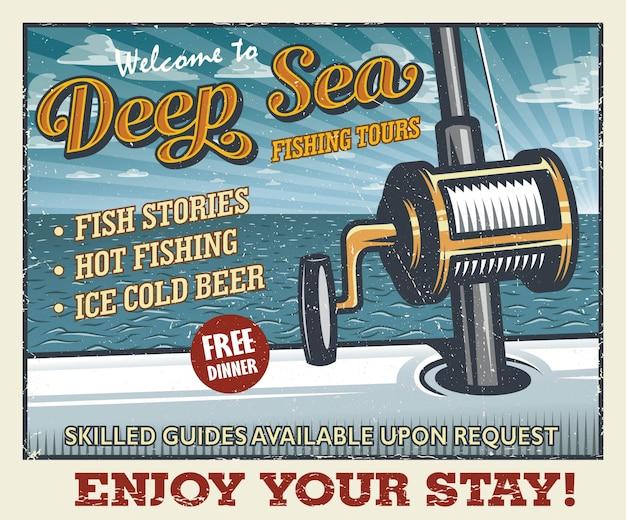 Vintage deep sea fishing poster Premium Vector