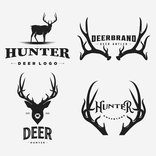 Vintage deer logo and  icon Premium Vector