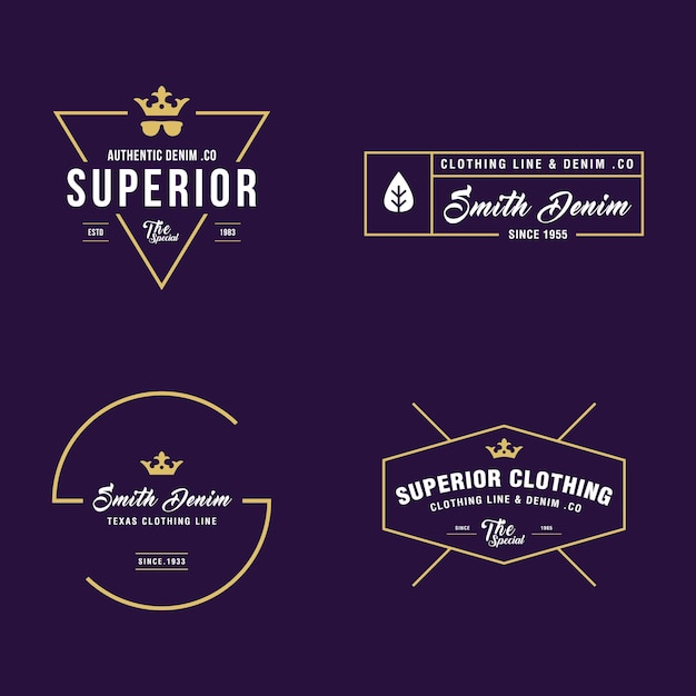 vintage denim and apparel badges labels templates vector premium