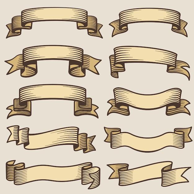 Vintage design banner ribbons. blank old vector labels Premium Vector