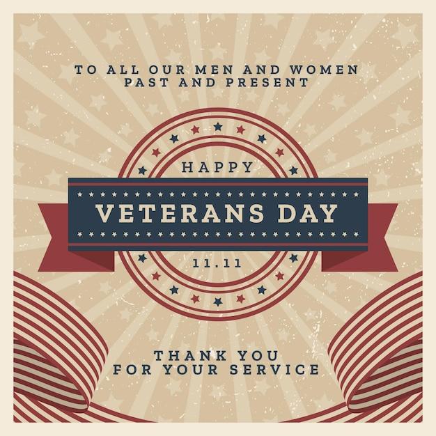 復員軍人の日のビンテージデザインのお祝い 無料ベクター