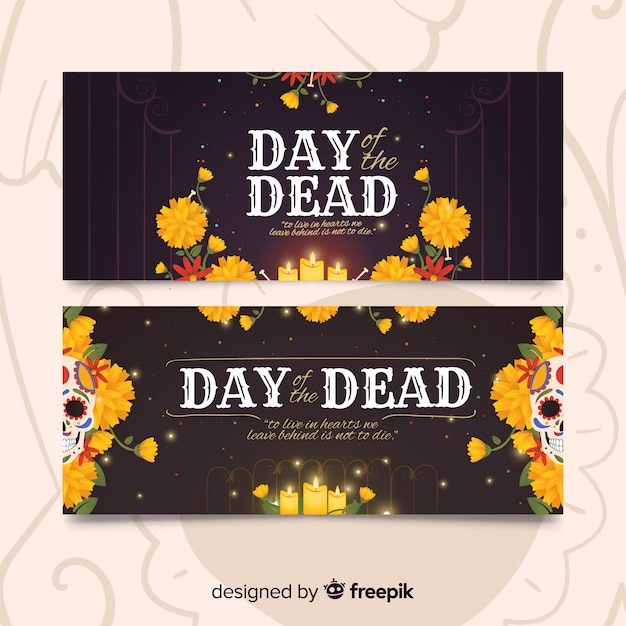 Vintage design day of the dead banners Free Vector