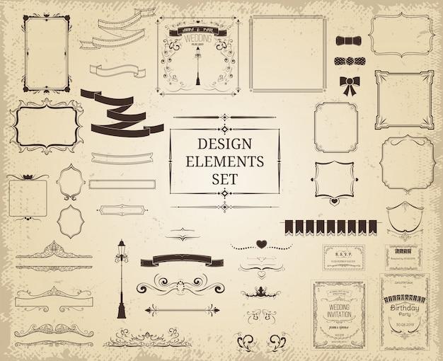ビンテージデザイン要素コレクション 無料ベクター