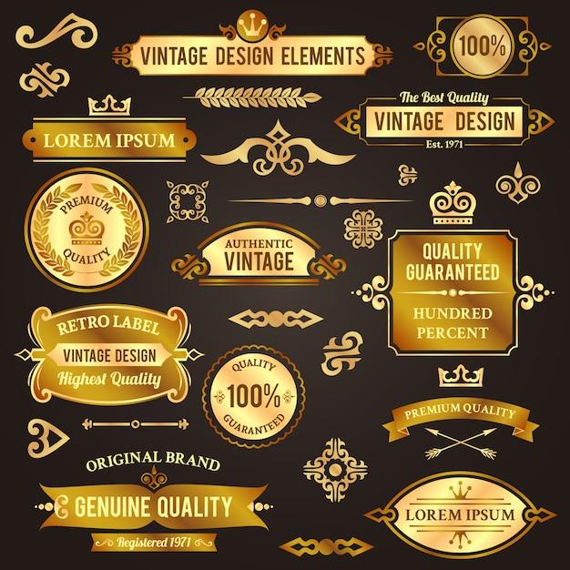 Vintage design elements golden. badge, label, separator decorative set Premium Vector