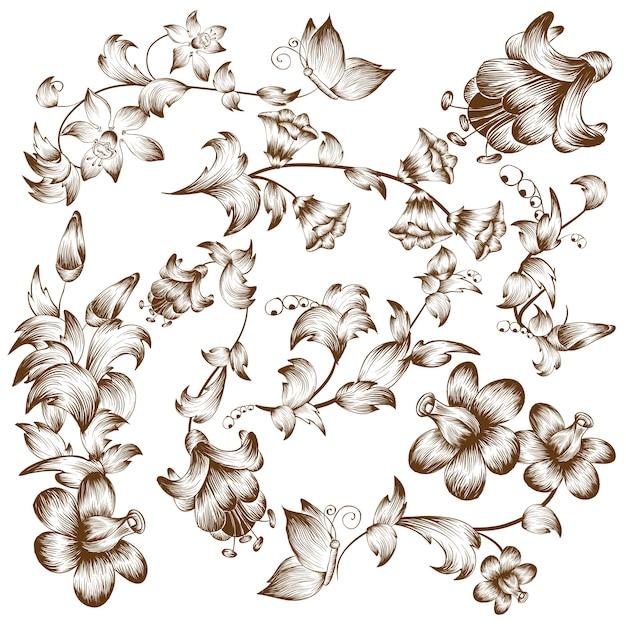 Урожай цветочные элементы дизайна Бесплатные векторы