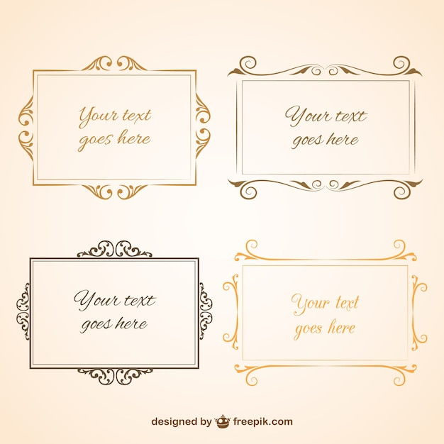 Vintage design frames collection Free Vector