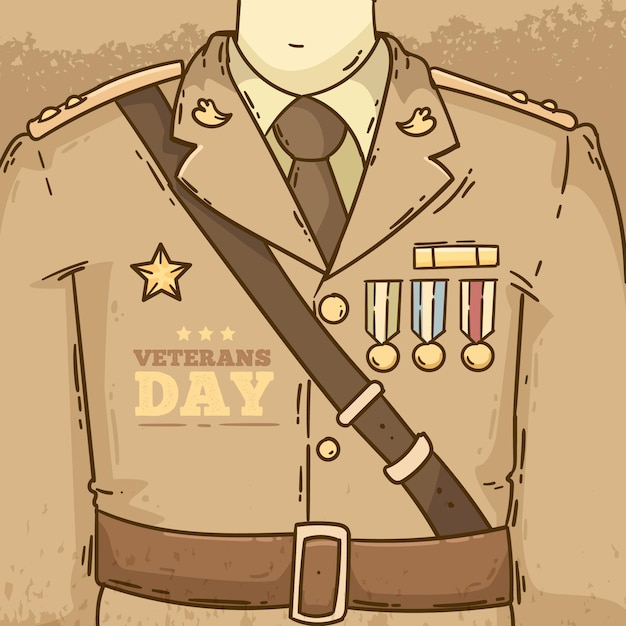 ビンテージデザインの退役軍人の日イベント 無料ベクター