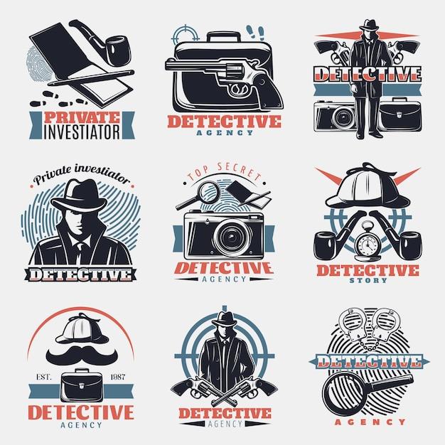 Винтажный детектив логотип Бесплатные векторы