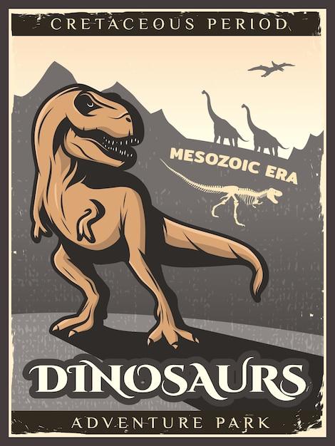 Poster vintage di dinosauro Vettore gratuito