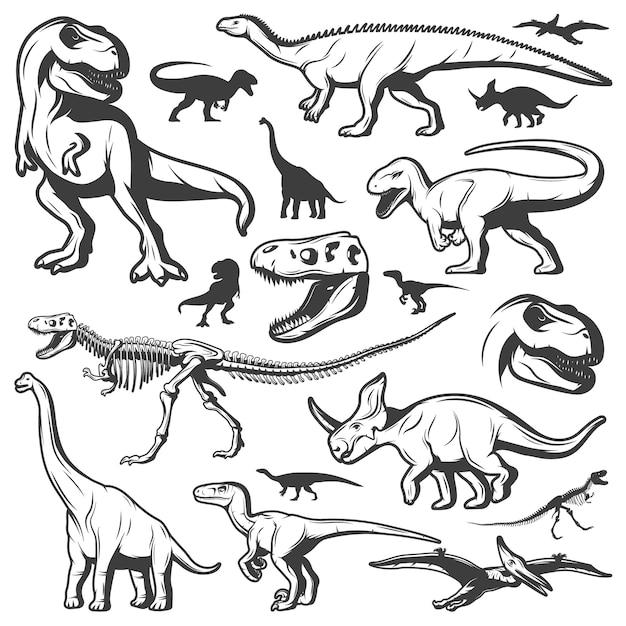 Collezione di dinosauri vintage Vettore gratuito